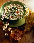 Vegetable Soup with Spaghetti and White Beans; Focaccia