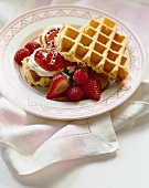 Heart shaped waffles with strawberries