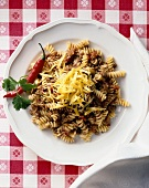 Fusilli with Spicy Chili Sauce and Cheese