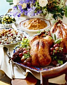Holiday Dinner Buffet with Roast Duck and Side Dishes