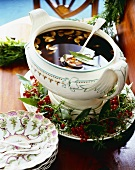 Full Soup Tureen on Christmas Decorated Platter