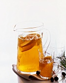 Pitcher and Glass of Cider; Pine Cones and Needles