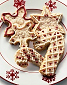 Decorated Candy Cane and Snowflake Cookies on a Snowflake Plate