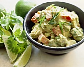 Vegetable Salad in a Creamy Mustard Dressing; Lime Wedges