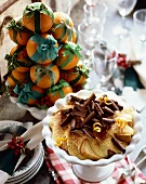 Cake and Pudding Trifle with Chocolate Curls; Tower of Clementines Tied with Ribbon