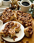 Christmas Breakfast; Pecan Sticky Buns on a Plate and Cutting Board; Coffee