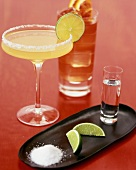 Cocktails with tequila, salt and lime