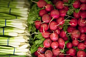 Radishes and spring onions on a market stall