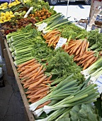 Vegetable stall at a farmers' market (USA)