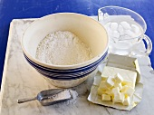 Ingredients for pie crust: flour, salt, butter, iced water