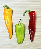 Drei Chilischoten (gelb, grün, rot)