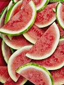 Many seedless watermelon slices (full-frame)