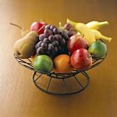 Fresh fruit in a wire basket
