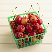 Cherries in a plastic basket