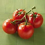 Four vine tomatoes with drops of water on green background