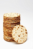 Round matzoh crackers, in a pile