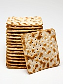 Square matzoh crackers, in a pile