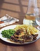 Marsala chicken with mushrooms, peas and pasta