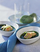 Soup with salmon, fresh ginger and tamarinds