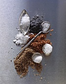 Still life with various types of salt