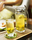 Tropical punch in carafe and glass