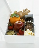 Fruit, spices, unsweetened popcorn, tea etc. in box