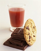 Chocolate chip cookie, chocolate and fruit juice