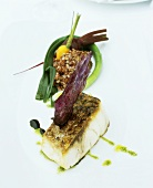 Halibut with vegetables and red rice
