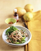 Thai mince salad with mint leaves