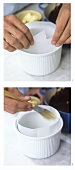 Lining a soufflé dish with paper & brushing it