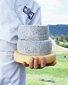 Chef with three cheeses (two of them blue cheese)