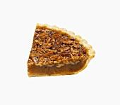 Pecan Pie Slice on a White Background