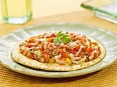 Pita Bread Pizza with Fresh Tomato Topping