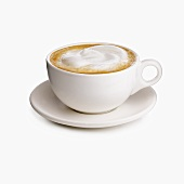 Cappuccino in a White Mug on a Saucer, White Background