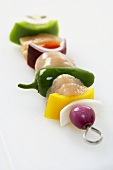 Uncooked Chicken and Vegetable Kabob