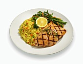 Grilled Salmon with Green Beans and Rice on a White Plate, White Background