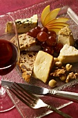 A Cheese Platter and a Glass of Red Wine