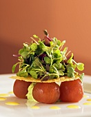 Peeled Cherry Tomato Salad with Baby Greens