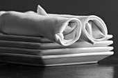 Rolled Napkins on a Stack of Square Plates