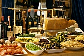 An Antipasti Buffet with Wine