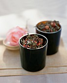 Close Up of Two Canisters of Tea Potpourri