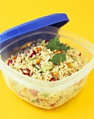 Confetti Rice in a Plastic Container