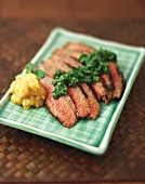 Sliced Steak with Plantain Chutney and Green Chili Cilantro