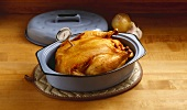 Roasted Chicken in Pan with Meat Thermometer