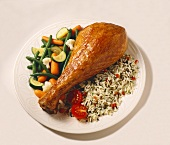 Turkey Leg with Wild Rice and Vegetable Medley