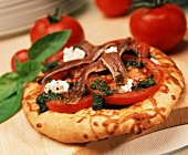 """Small Pizza with Pesto, Goat Cheese and Anchovies"""""""