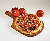 Tomato Pizza on Wooden Paddle