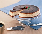 Creme Brulee Cheesecake with a Piece Cut Out