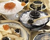 Salmon Roe with Black Caviar