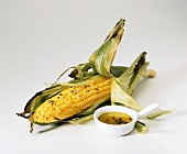 Ear of Roasted Corn with a Dish of Pepper Butter